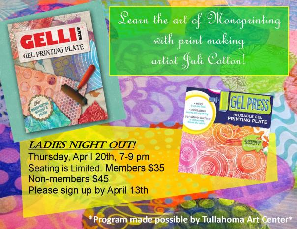 Juli Cotton monoprinting Flyer 3 APRIL 20